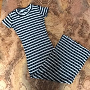 Zara Striped Knit Midi Dress S